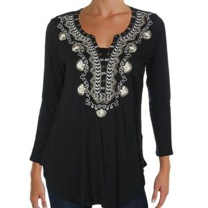 Lucky Brand Embellished Henley Top M
